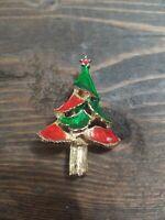 Retro Vintage Christmas Enamel Colorblock Tree Brooch Pin Holiday Wear 1950s
