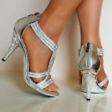 NEW Ladies Party Prom Diamante Ankle Straps Low Mid Heel Shoes Sandals Size-6606