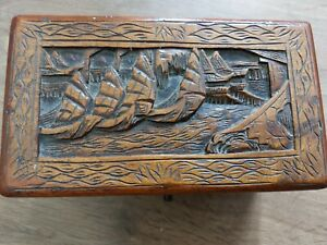 Wood Carved Oriental Box