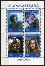 Madagascar 2019 MNH Aquaman Jason Momoa 4v M/S Movies Film Superheroes Stamps