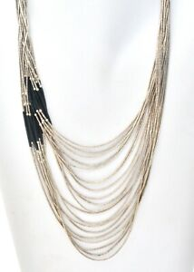 Liquid Sterling Silver Necklace Multi 20 Strand Necklace Black Onyx Beads JH