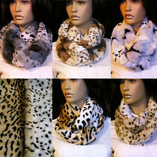 Faux Fur Animal Print Snood Scarves & Shawls for Women