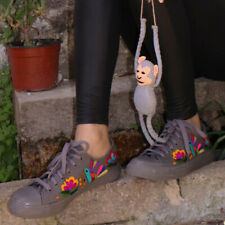 Women's Mexican Embroidered Sneakers Size 9 Gray Floral Canvas Tennis Shoes