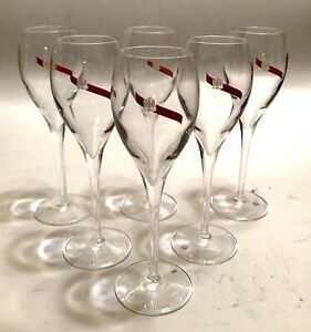 "SET (6) G.H. MUMM Tulip Champagne Flute Glasses, Eagle Crest w/Red Ribbon 7.5"""