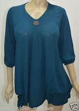 teal top blouse 3/4 sleeve coconut button  S M L XL MISSES