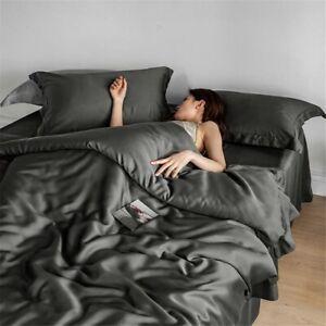 Women Silk Dark Gray Bedding Set Beauty Duvet Cover Sets Bed Sheet Fitted Sheet