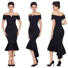 Abito scollo Coda Svasato Cerimonia Festa Ballo Party Mermaid Evening Dress S
