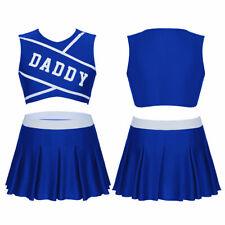 Womens Cheerleader Uniform Skirt Costume Schoolgirl Dress Top Skirt Outfit L