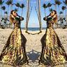 Vestito donna lungo maxi abito elegante piume pavone scollato sexy GI-20695