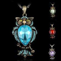 Fashion Retro Women's Owl Crystal long Charm Pendant necklace Czech rhinestone