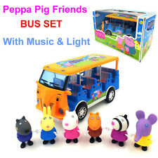 Peppa Pig Toys Running Bus & 6pcs Friends Music & Light Baby Car Toys Kids Gift