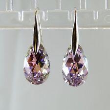 925 Sterling Silver Earrings Purple VL Teardrop Dangly Swarovski Element Crystal