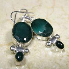 Striking Genuine Green Topaz Silver Plated Dangle Earrings       TOPE16