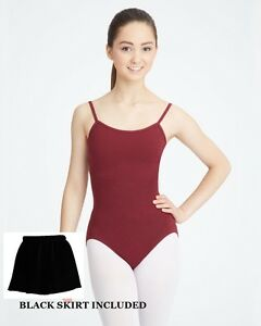Bloch CL5407 Burgundy Child Large (12-14) Camisole Leotard Footed Tights Skirt