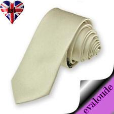 Skinny Champagne Beige Mans Mens Slim Plain High Quality Satin Neck Tie Necktie