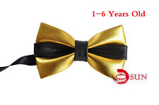 Kids Boy Black and Gold Faux Leather Bowtie Bow Tie 1 to 6 Years Old Wedding