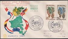 N°:1122:1123 Europa ENVELOPPE PREMIER JOUR  DU 16.9.1957 COTE: 22 €