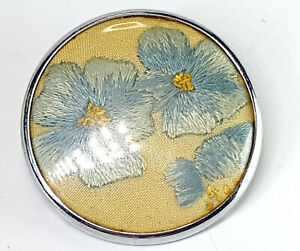 Vintage embroidery forget me not brooch.