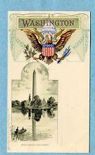 "A2037  Postcard  Tuck  ""WASHINGTON""   Washington Monument, People in Boat"