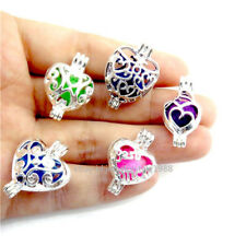 21700 5X/set Bright Silver Sweet Heart Love Oyster Pearl Cage Locket Pendant