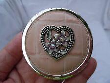 Vintage Brighton Pink Croc Leather Compact Mirror Case w/Flower Heart