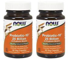 2 Pack Now Foods Probiotic-10, 25 Billion, 10 Strains - 50 Veg Capsules