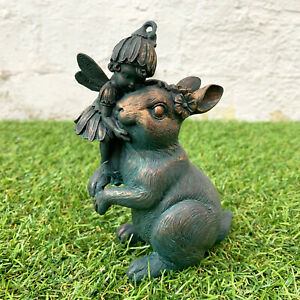Miniature Bronze Effect Resin Small Fairy On Bunny Rabbit Figurine Ornament Gift