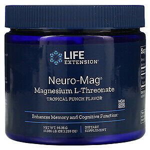 Neuro-Mag Magnesium L-Threonate Powder 3.29oz/93g Life Extension Tropical Punch