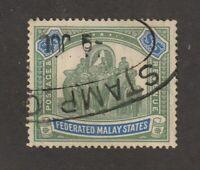 Malaya stamps, Federated Malay States #75, used, wmk. 4, 1925, rare $5, SCV $280