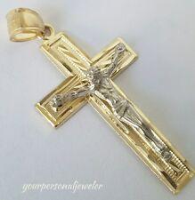 1.75  inch long 10k yellow white Gold Jesus Crucifix Cross Pendant charm
