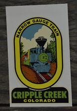 ORIGINAL VINTAGE TRAVEL DECAL NARROW GAUGE TRAIN CRIPPLE CREEK COLORADO OLD CAR