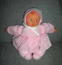 Corolle  plush baby doll   with pink gingham check dress hat     sits 10 inches