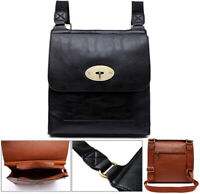 Black Designer Ladies Turnlock Twist Cross Body Messenger Shoulder Bag Leather