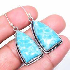 "Larimar Gemstone Handmade Ethnic Silver Fashion Jewelry Earring 1.9"" SE8169"