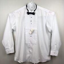 Adolfo Mens Tuxedo Wingtip Collar White Dress Shirt Black Bow-tie Size XXL New