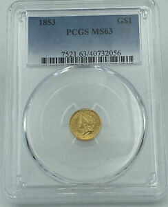 1853 PCGS MS63 Gold Dollar $1 Eye Appealing Coin
