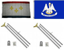 3x5 City of New Orleans & State Louisiana Flag & 2 Aluminum Pole Kit Sets 3'x5'