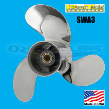 Stainless Johnson Evinrude Prop 8-9.9-15hp Power Tech SWA3 Propeller 3 Blade