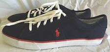 Polo By Ralph Lauren Clifton Men's Navy Blue And Red Lace-up Sneakers Size 17D