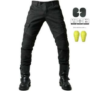 Mens Motorcycle Pants Aramid Protective Lined Armoured Biker Riding Jeans Black