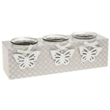 dainty daisy butterfly triple t tea light Holder shabby chic rustic gift candle