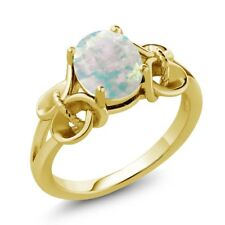 0.60 Ct Oval Cabochon White Simulated Opal 18K Yellow Gold Plated Silver Ring