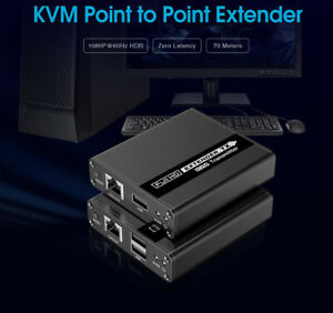 HDMI + USB KVM Extender Over CAT5e/6/7 Cable 1080P ZERO LATENCY Up to 70M 230FT