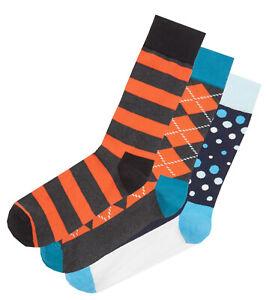 HS by HAPPY SOCKS Mens 3 PAIRS Argyle Dot Spot Stripes > Size UK 7½-11½ EU 41-46