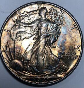 1943-P Silver Walking Liberty BU Half Dollar 50c ~ Ultra Grade & Rainbow Toned!