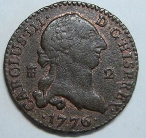1776 SEGOVIA 2 MARAVEDI CHARLES III BEAUTIFUL SPANISH COLONIAL COPPER SPAIN