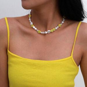 Smiley face smile emoji pearl beaded necklace choker UK