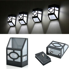 Solar Powered LED Light Outdoor Garden Wall Mount Path Landscape Fence Yard Lamp