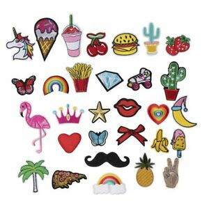 30-Piece Iron/Sew on Assorted Applique Patches For DIY Hats Jackets Shirts Jeans