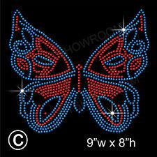 Butterfly Rhinestone/Diamante Transfer Hotfix Iron on Motif Applique + Free Gift